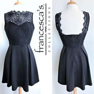 FRANCESCA'S fit&flare black dress with lace size S